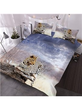 The Leopard On The Dead Wood Of The Grassland Printed 3-Piece Comforter Sets