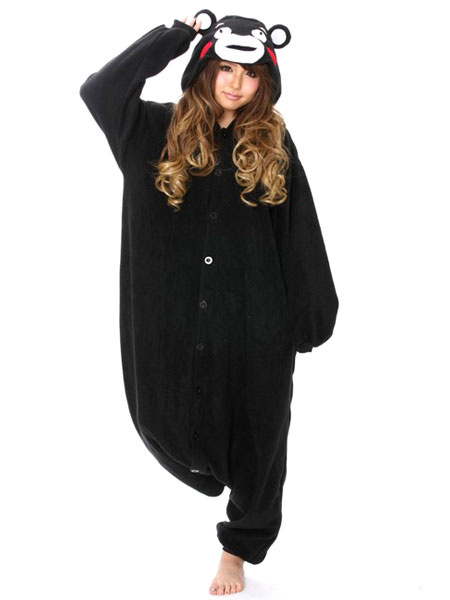 Milanoo Animal Kigurumi Pajamas Kumamon Black Adult Hooded Flannel Onesie Winter Sleepwear Halloween