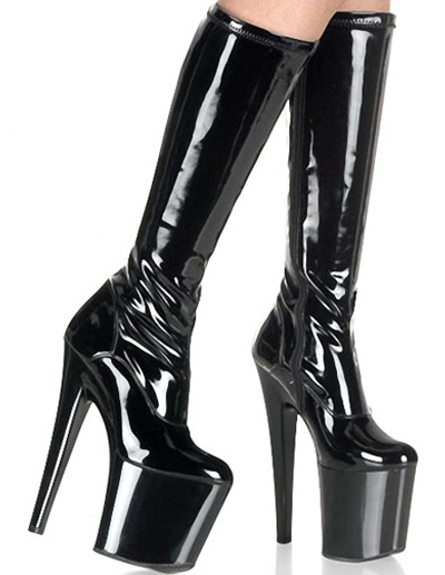Milanoo Glitter PU Leather Patent Round Toe Women's Hot High Heel Boots