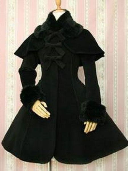 Milanoo Gothic Lolita Overcoat Bows A Line White Lolita Coat With Detachable Fur And Cape
