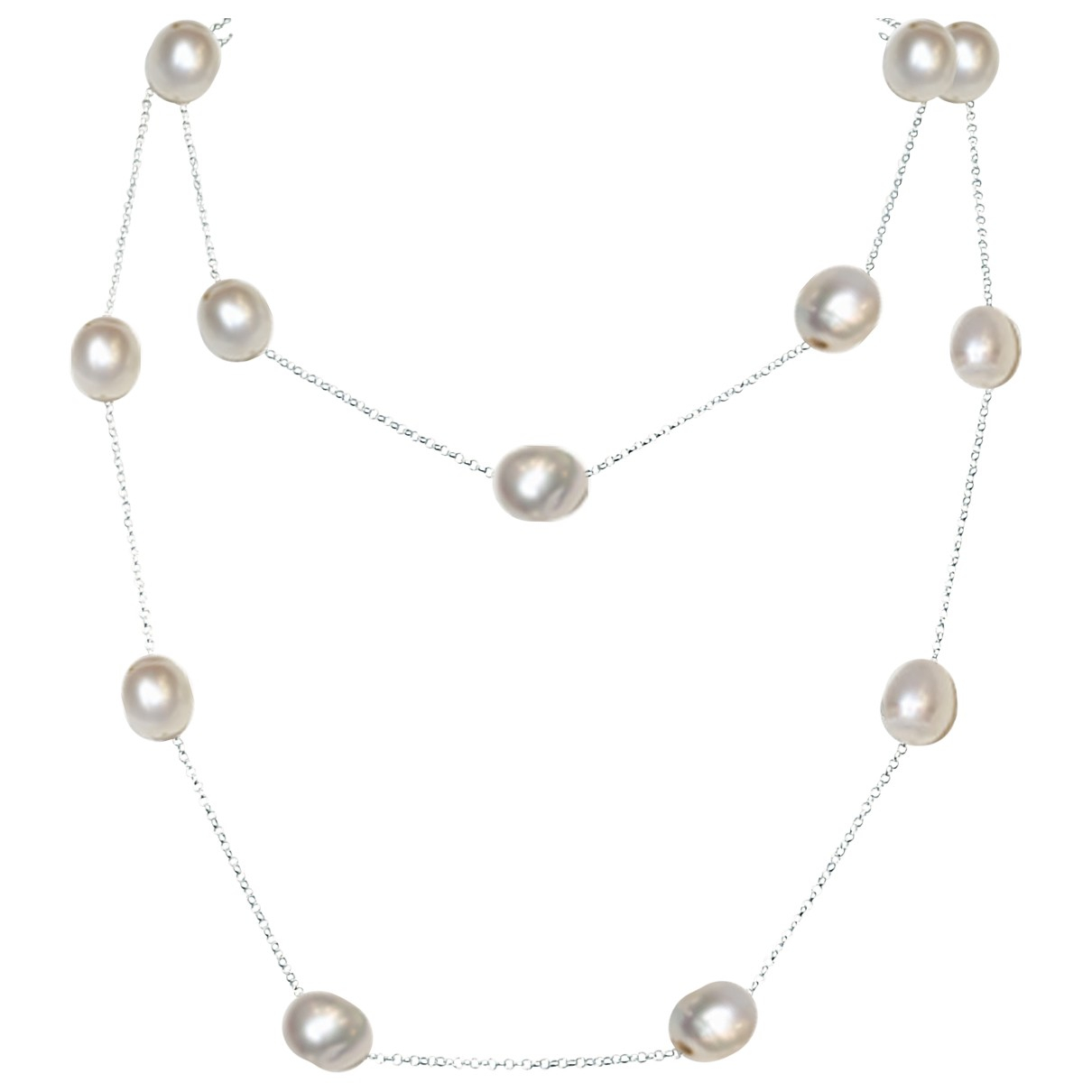 Non Signé / Unsigned Chaînes Silver White gold Long necklace for Women \N