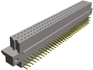 TE Connectivity , Eurocard 96 Way 2.54mm Pitch, Type R Class C2, 3 Row, Right Angle DIN 41612 Connector, Socket