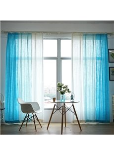 Blue and White Three Colors Cloth Splicing Custom Curtain