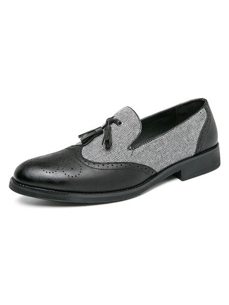 Milanoo Men\'s Loafer Shoes Comfy Slip-On Tassels Color Block PU Leather Dress Shoes