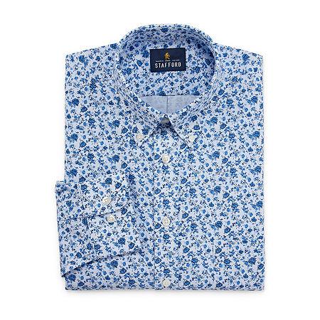 Stafford Mens Wrinkle Free Oxford Button Down Collar Regular Fit Dress Shirt, 18 34-35, Blue