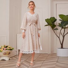 Lace Detail Lantern Sleeve Belted Ditsy Floral Dress