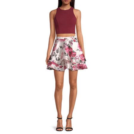 City Triangle-Juniors Sleeveless Dress Set, 17 , Red