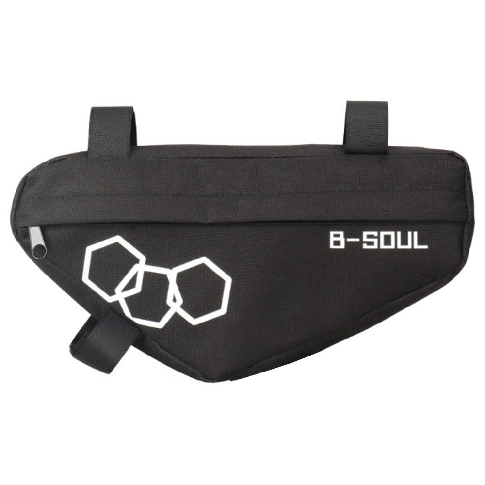 B-SOUL Bicycle Triangle Bag Large Capacity Fully Upper Pipe Saddle Front Beam Bag - Black