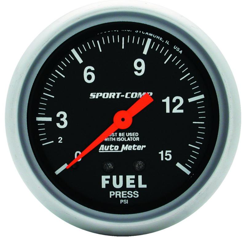 AutoMeter GAUGE; FUEL PRESSURE; 2 5/8in.; 15PSI; MECHANICAL W/ISOLATOR; SPORT-COMP