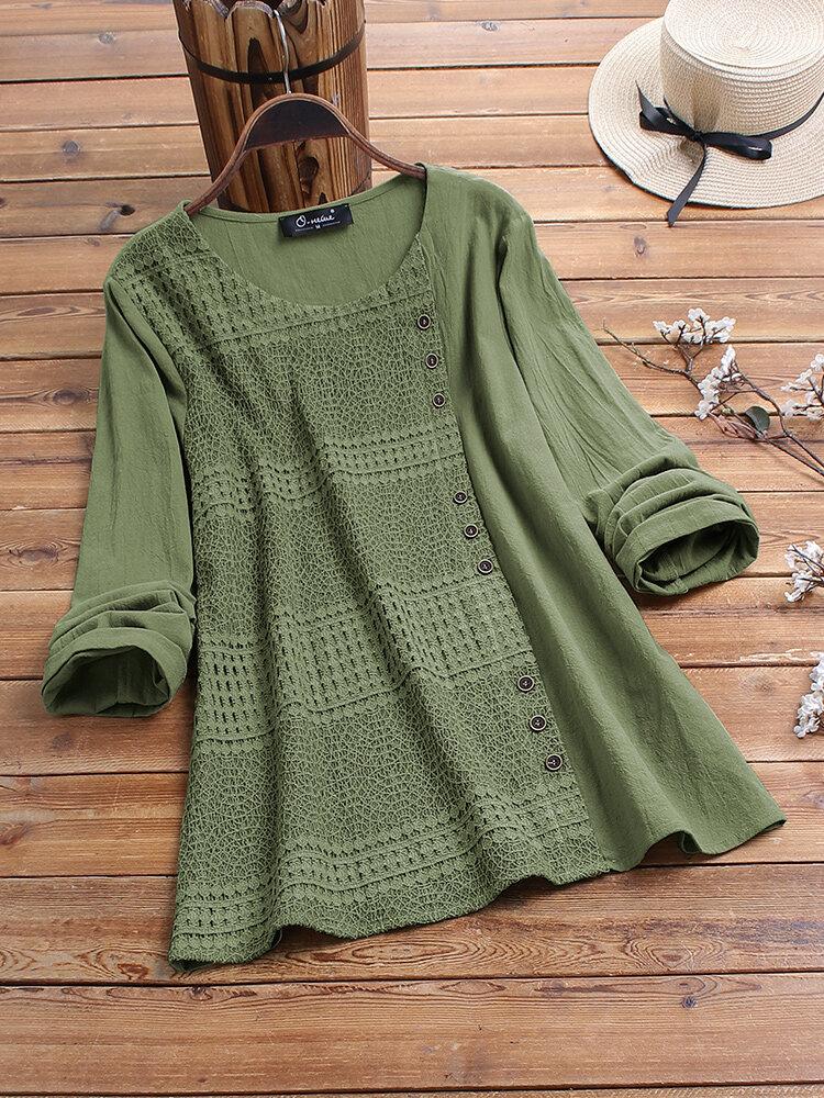 Lace Patchwork Button Long Sleeve Plus Size Cotton Blouse