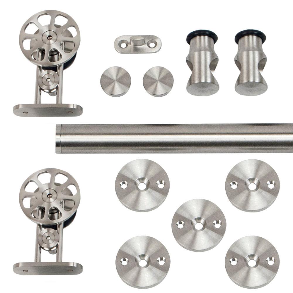 96 in. Stainless Steel Top Mount Spoke Wheel Rolling Door Hardware Kit for Wood Doors