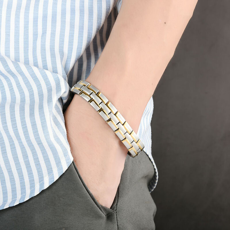 12mm Men Stainless Steel Chain Bracelet 4 In 1 Energy Magnet Bangle Health Care Jewelry Gift