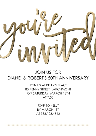 Birthday Party Invites 5x7 Cards, Standard Cardstock 85lb, Card & Stationery -Party You're Invited Script by Tumbalina