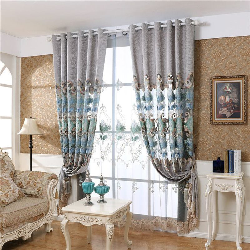 European Style Good Quality Polyester Embroidered Custom Sheer Curtains for Living Room Bedroom