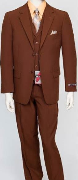 Mens 3Piece Regular Fit Notch Single Vest Dress Suit PolyPoplin Cognac