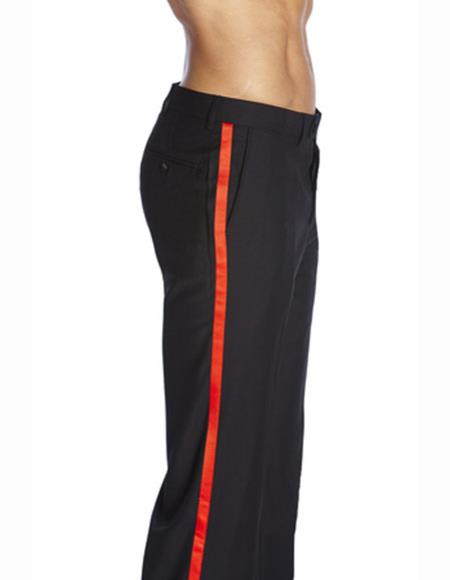 Men's Fit Black Pleated Front Satin Red Trimmed Band Solid Tuxedo Pant