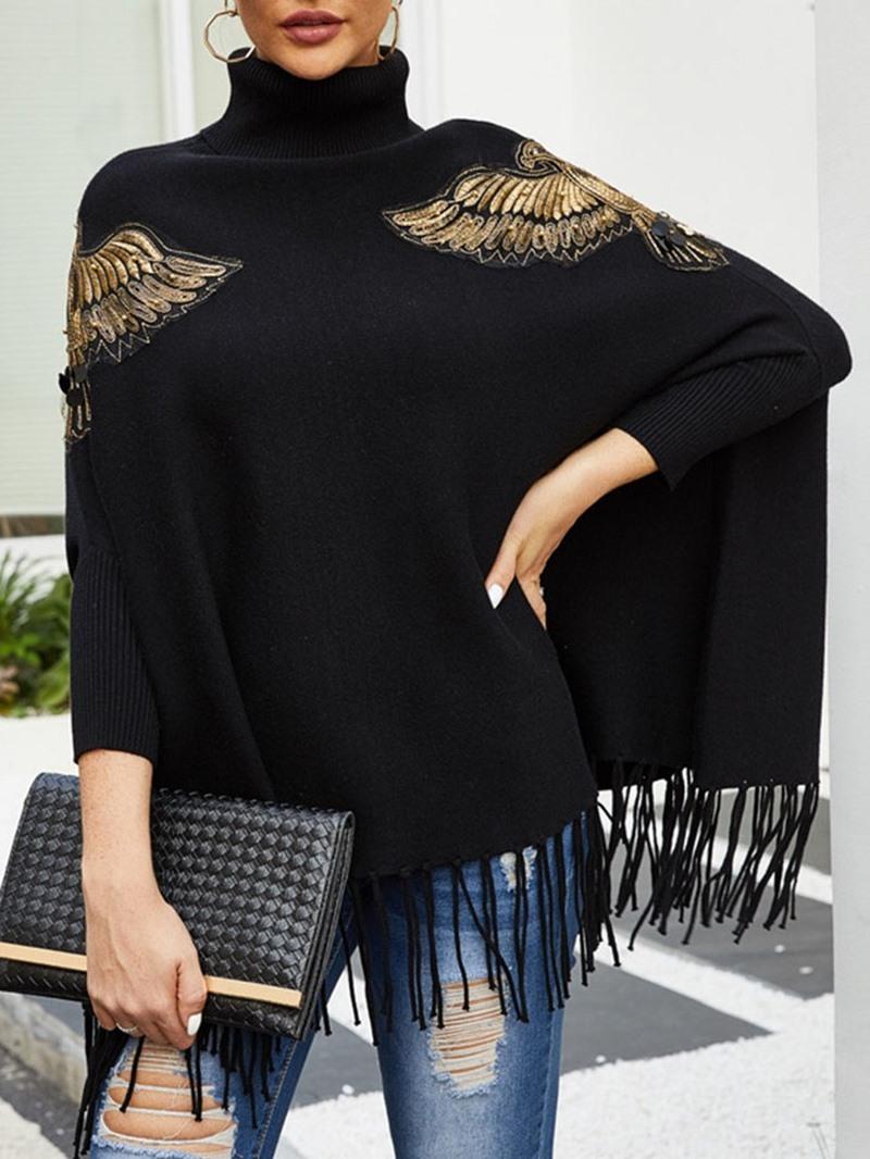 Ericdress Patchwork Turtleneck Mid-Length Women's Sweater