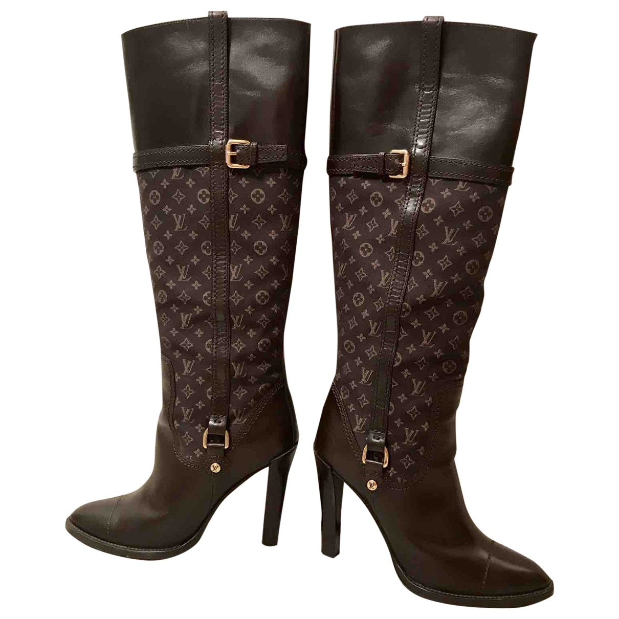 Louis Vuitton \N Brown Cloth Boots for Women 37.5 EU