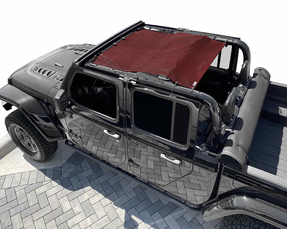 Steinjager J0049329 Teddy Top Fabric Solar Screen Cover Burgundy Jeep Gladiator JT 2019-2020