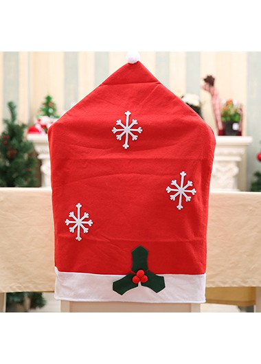 Red Christmas Snowflake Hat Shape Chair Pad - One Size