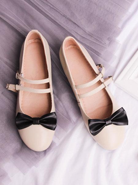 Milanoo Sweet Lolita Pumps PU Bow Strappy Two Tone Apricot Lolita Flats