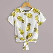Pineapple Print Tie Hem Tee