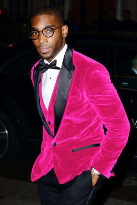 Hot Pink Mens Cheap Velvet Velour Clearance Big/Tall Blazer/Sport Coat