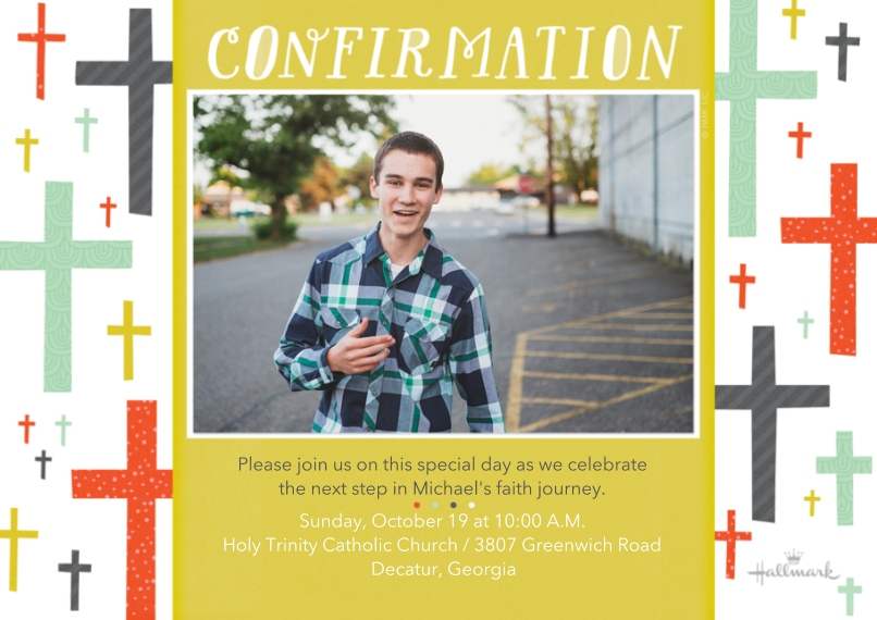 Confirmation 5x7 Cards, Premium Cardstock 120lb, Card & Stationery -Confirmation Cross Pattern