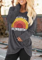 You Are My Sunshine Rainbow Twist Blouse - Gray