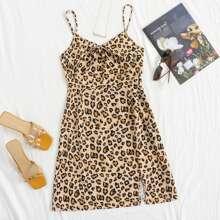 Leopard Print Knot Detail Slit Hem Cami Dress
