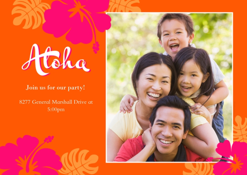 Party Invitations 5x7 Cards, Standard Cardstock 85lb, Card & Stationery -Aloha