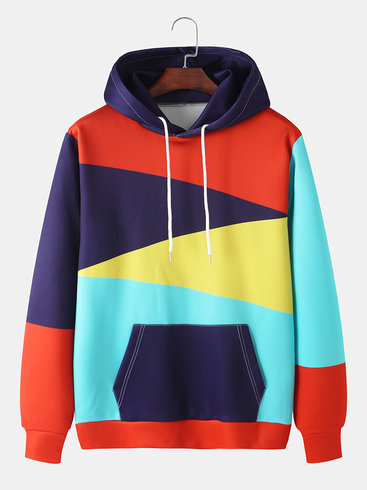 Mens Colorblock Print Loose Fit Casual Drawstring Hoodies With Muff Pocket