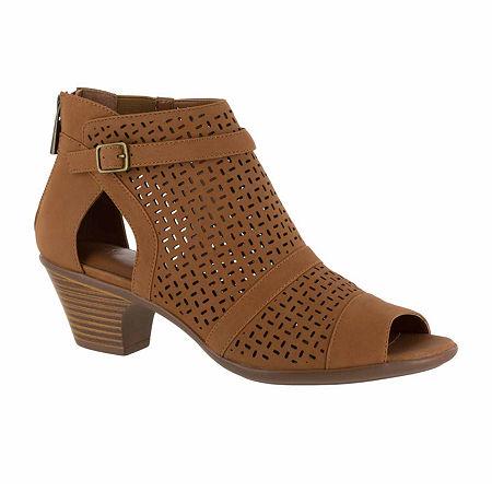 Easy Street Carrigan Womens Slip-On Booties, 7 1/2 Wide, Brown
