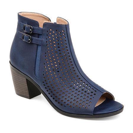 Journee Collection Womens Harlem Booties Stacked Heel, 6 1/2 Medium, Blue