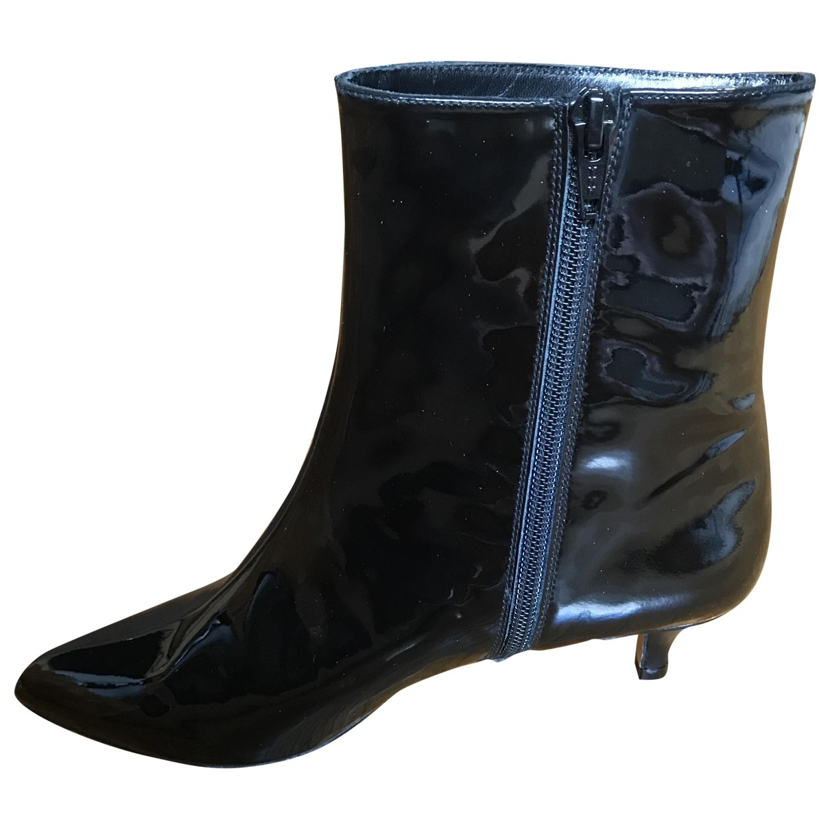 Non Signé / Unsigned \N Black Leather Ankle boots for Women 37.5 EU