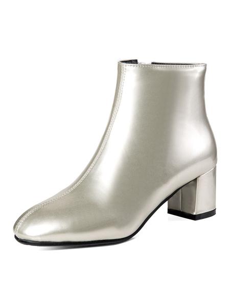 Milanoo Women Ankle Boots Square Toe Zip Up Chunky Heel Booties