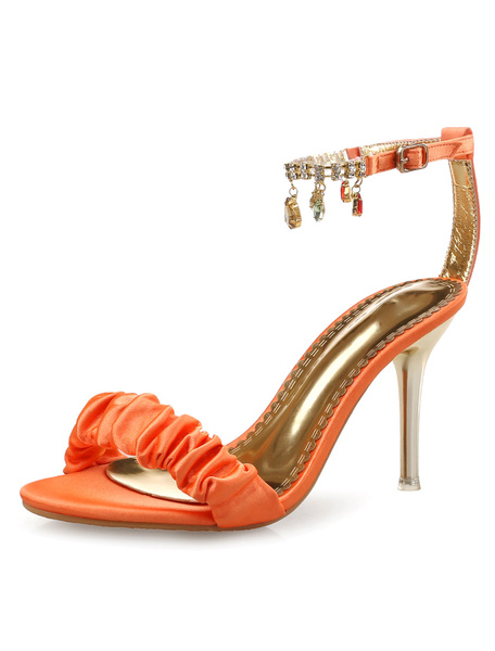 Milanoo High Heel Sandals Womens Black Open Toe Rhinestones Ankle Strap Stiletto Heel Dress Sandals