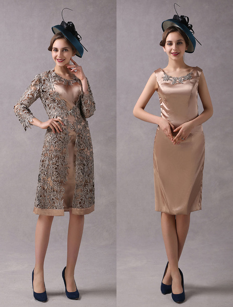 Milanoo Wedding Guest Dresses 2 Piece Mother Suits Taupe Lace Satin Vest And Jacket Wedding Party Dress