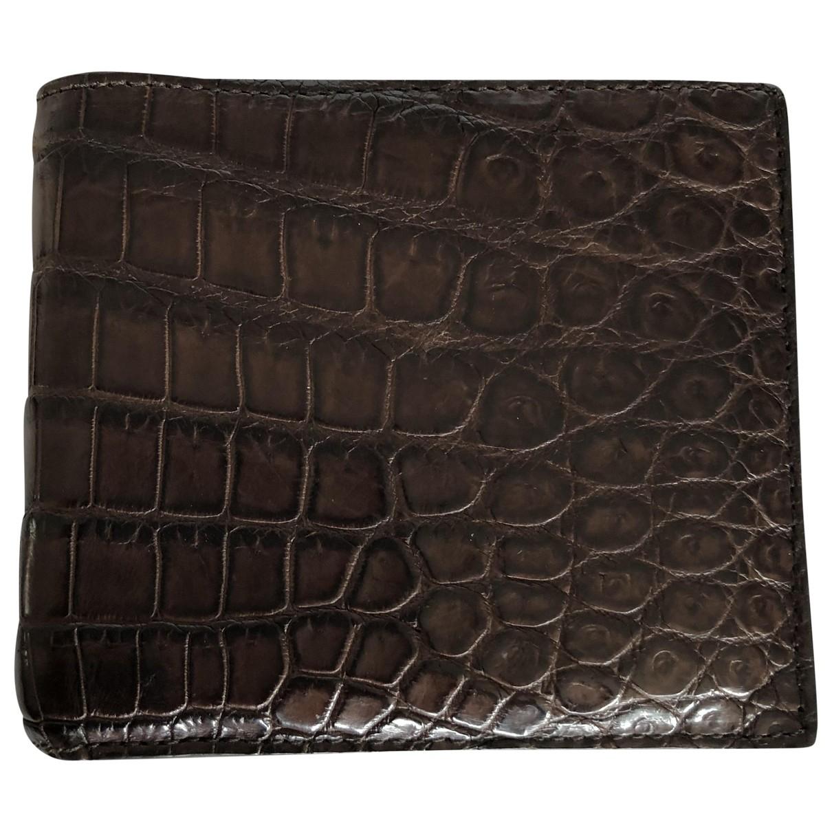 Bottega Veneta \N Brown Crocodile Small bag, wallet & cases for Men \N