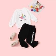 Toddler Girls Cartoon Graphic Sweatshirt & Letter Sweatpants