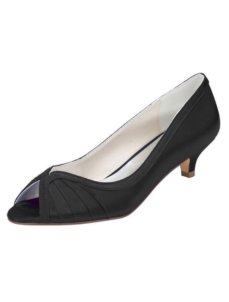 Milanoo Blue Bridal Shoes Peep Toe Kitten Heel Pumps Women's Pleated Slip-On Elegant Evening Shoes