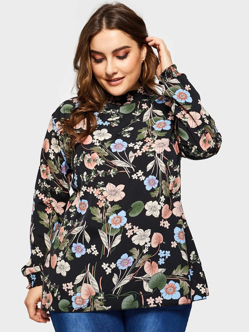 Ericdress Pleated Floral Stand Collar Plus Size Blouse