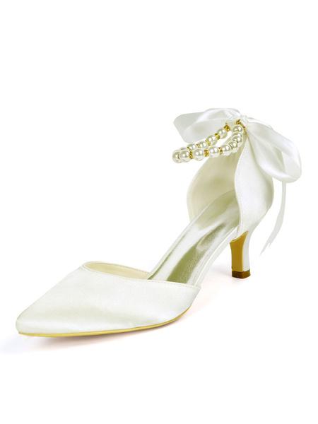 Milanoo Zapatos de novia de saten Zapatos de Fiesta de tacon de kitten Zapatos Color de uva Zapatos de boda de puntera puntiaguada 6cm con perlas
