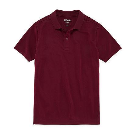 IZOD Performance Mesh Little & Big Boys Short Sleeve Wrinkle Resistant Moisture Wicking Polo Shirt, Medium , Red