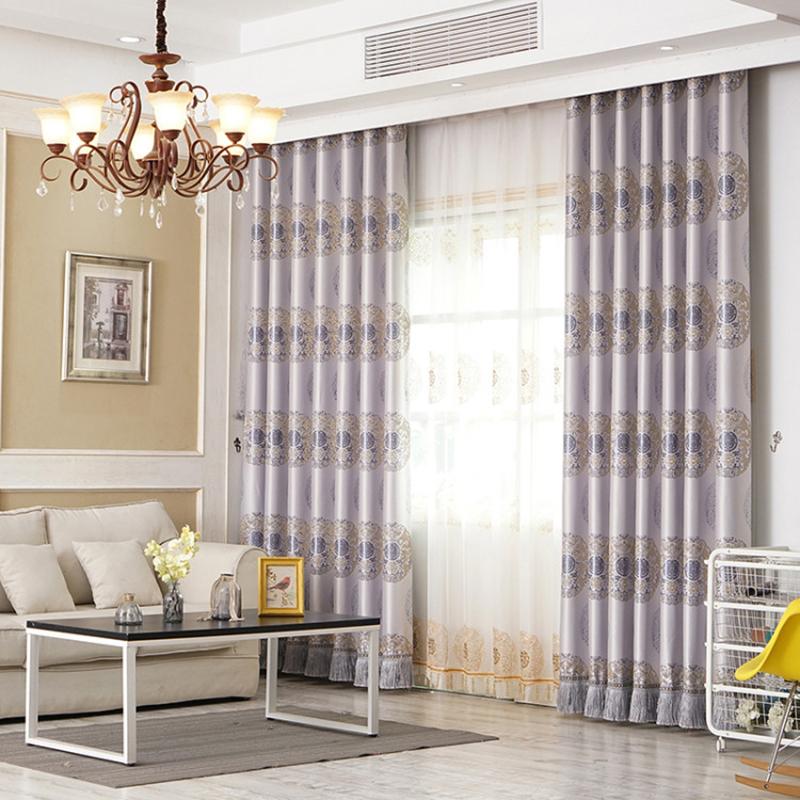 European Style Elegant and Classical Light Grey 2 Panels Custom Living Room Curtains