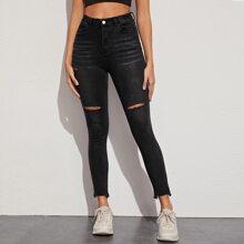 Ripped Raw Hem Skinny Jeans