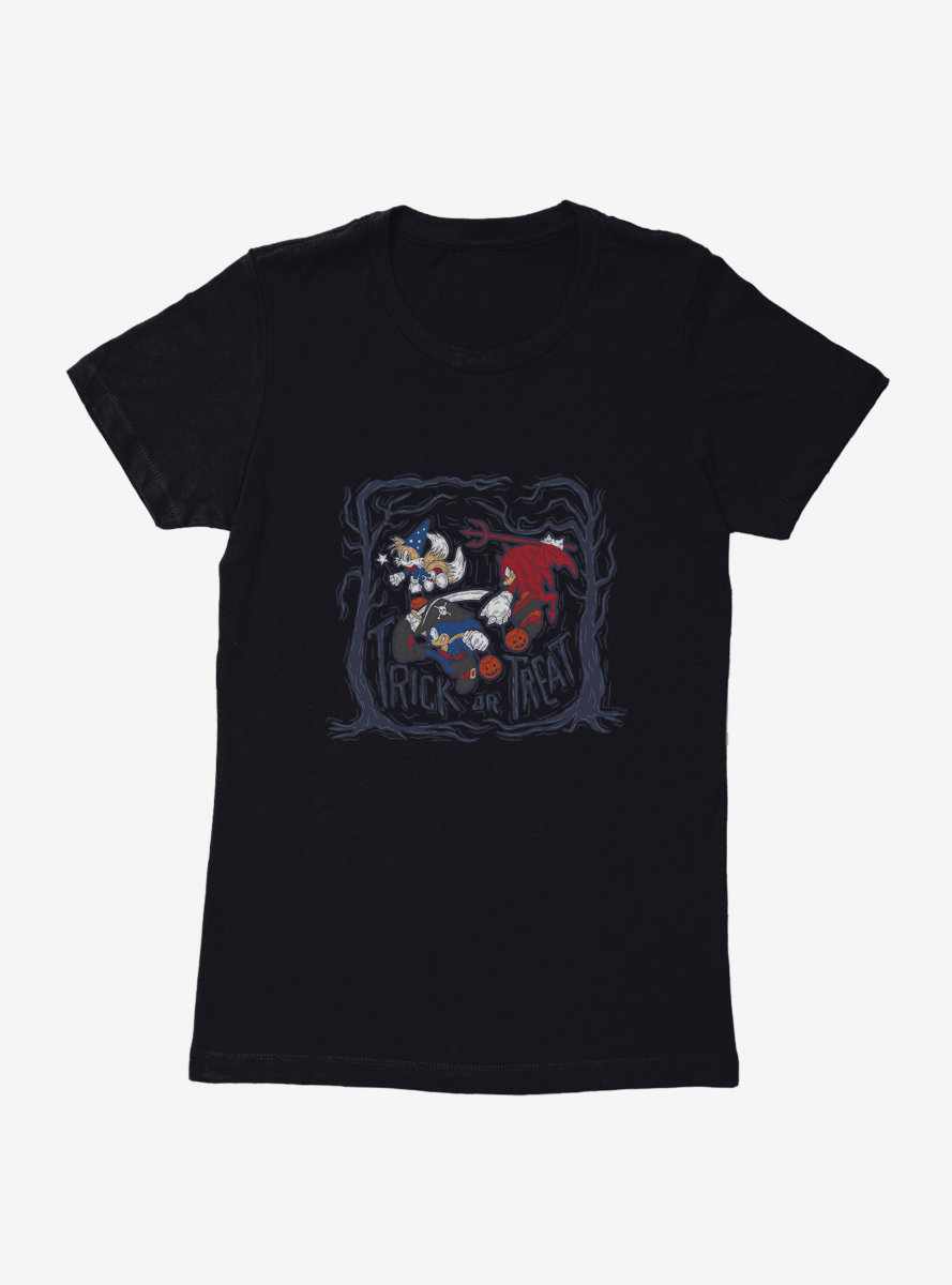 Sonic The Hedgehog Halloween Trick Or Treat Womens T-Shirt