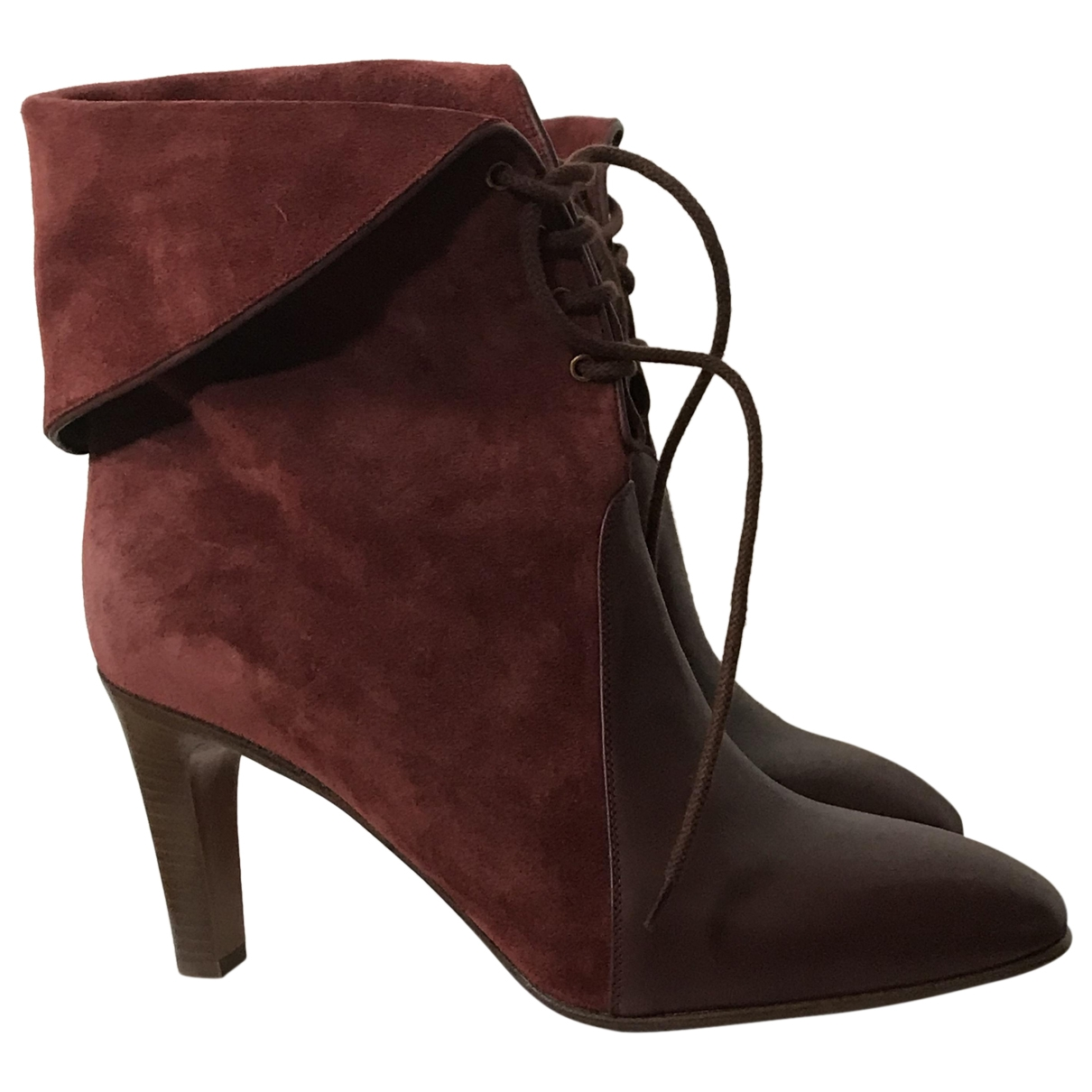 Chloé \N Burgundy Suede Ankle boots for Women 41 EU