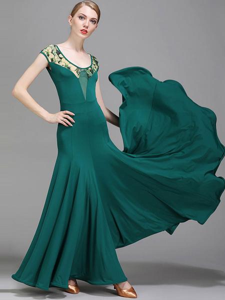 Milanoo Ballroom Dance Costumes Silk Florla Print V Neck Dark Green Dancer Dress Dance Wear