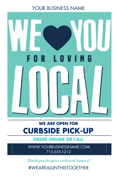 COVID-19 20x30 Adhesive Poster, Home Décor -Local Love